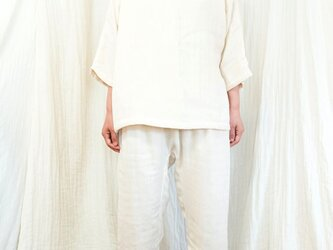 OrganicCotton3重ガーゼ ゆったりパジャマ7分丈セット【生成り色】の画像