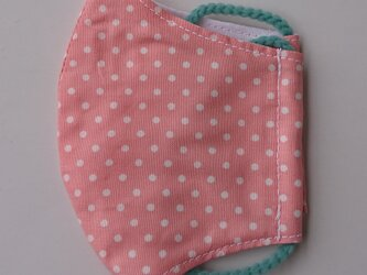 再販 薄手マスク子供用(低学年)水玉ピンクの画像