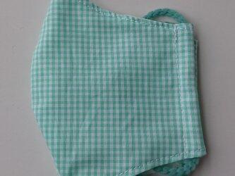 薄手マスク子供用(低学年)ギンガム緑の画像