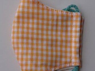 薄手マスク子供用(高学年)ギンガムオレンジの画像