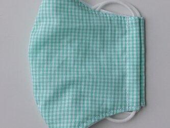 薄手マスク大人用Mサイズギンガム緑の画像