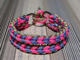 LoveLove編み3色編み込みハーフチョーク お揃いのリードもあります 小型犬用(内径24~29cm)の画像