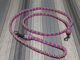 LoveLove編みのリード 小型~中型犬用 お揃いのハーフチョークの首輪もあります(全長120cm)の画像