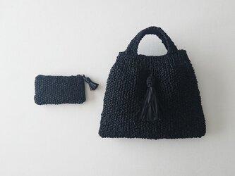 satin ribbon knit mini bag & porch (black)の画像