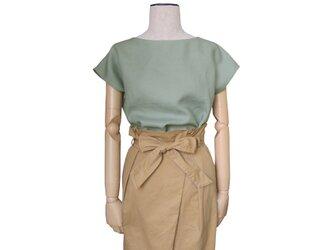 リネン100%シンプルフレンチ袖プルオーバー_vintage mintの画像