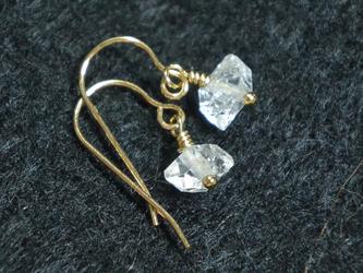 (1点もの)ハーキマーダイヤモンドの14kgfピアスの画像