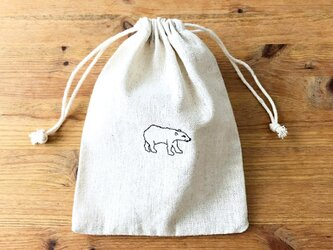 刺繍入り巾着袋 「シロクマ」の画像