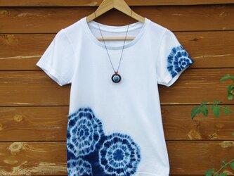 【送料無料】藍染Tシャツと藍玉ネックレスのセットの画像