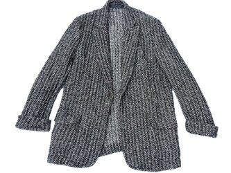 モノトーン(白黒)ジャケット、イタリア製デッドストック生地使用 MOMOZONO originalの画像