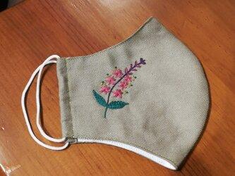 【再販】手刺繍☆きれいな横顔☆リネンの立体マスク(ミソハギ)の画像