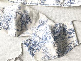 パリ購入生地トワル・ド・ジュイ1 立体マスクノーズワイヤーポケット、フィルターポケット付き) 大人Mサイズ 1枚の画像