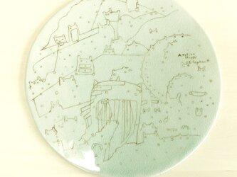 幾何学文様うさねこ絵皿の画像