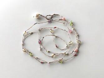 ふきよせ ネックレス[ピンク色]/ワックスコード, ガラスビーズ, 天然石の画像