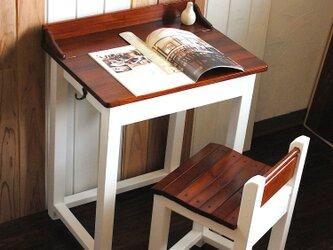 ☆かわいいパタパタ机と引出し付きの椅子セット★ミルクペイントホワイト&チークカラーの画像