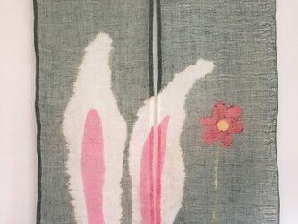 耳うさぎ暖簾・お花の画像
