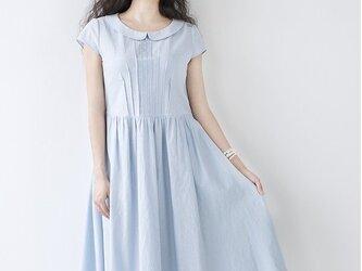 【M】丸い小衿ピンタック仕様ポケット付き半袖ワンピース♪の画像