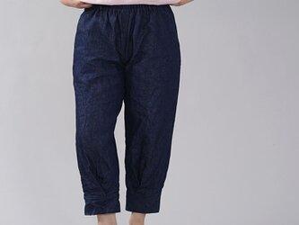 【wafu】厚地 リネンデニムパンツ 男女兼用 育てていくデニム 色落ちします 裾タックパンツ/インディゴ b013h-ind3の画像