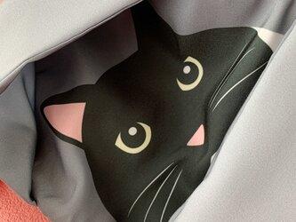 《再販》小物入れにもなる猫柄マスク用ポーチ01(モノクロ系)の画像