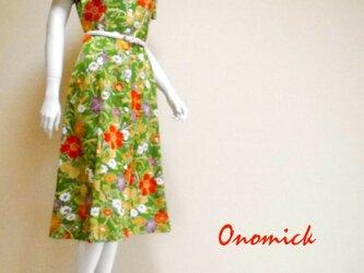 レトロ小紋のオープンカラーワンピース Open collar Shirt dress LO-173/Mの画像