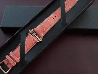 シンガポール輸入クロコダイル革使用Apple Watchベルト メンズ時計ベルト ワニ革時計ベルトの画像