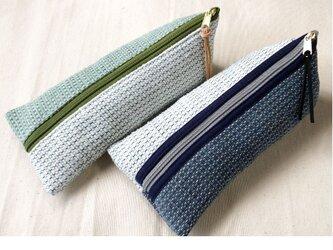 裂き織り ペンケース(バイカラー)小物入れ 2種の画像