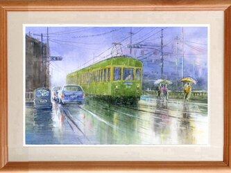 水彩画原画 雨の舗道 #425の画像