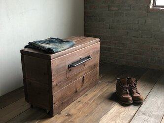 数量限定 M-BOX-mini 収納 ボックス 椅子 ベンチ キャスター 収納箱 古材 木箱 アイアン ウッドボックスの画像