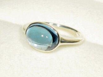 3.43ctブルートパーズとSV925の指輪(リングサイズ:9号、サイズ変更可、ロジウム厚メッキ)の画像