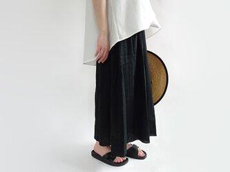 ベーシックカラーマキシ丈Wガーゼロングスカート<ブラック>の画像