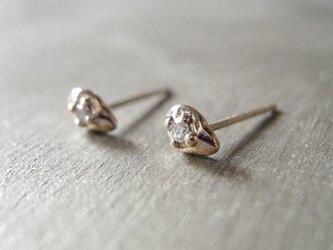 ダイヤモンドスタッドピアス しずく K10 YellowGold  ピアス K10  10金 ダイヤ 天然石の画像