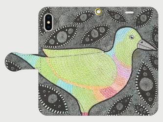 手帳型iPhoneケース/スマホケース/ムネアカアオバト/鳥の画像
