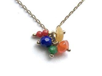 天然石とカットガラスのペンダント 〈Dew Drops ネックレス:Opened Treasure Chest〉の画像