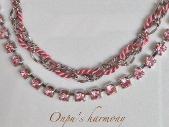 ラインストーンブレスレット ピンクの画像