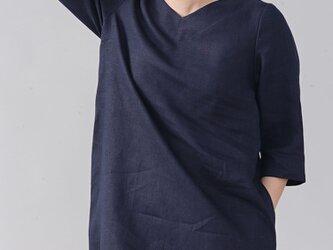 【wafu】中厚 リネン Vネックワンピース あきすぎないVネック シンプル Aライン ドレス /ネイビー a032e-neb2の画像
