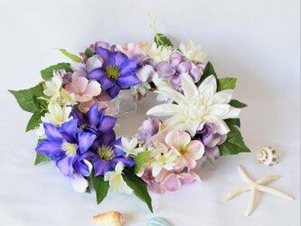 涼やか紫の夏リース・テッセン(アーティフィシャルフラワー)の画像