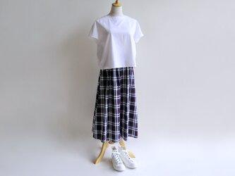 播州織コットン*たっぷりギャザーのキュロットスカート(紺×白×赤チェック・サッカー生地)送料無料の画像