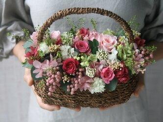ピンクローズのFlower basketの画像
