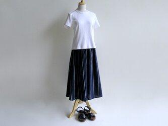 播州織コットン*たっぷりギャザーのキュロットスカート(紺&青&白ストライプ・サッカー生地)送料無料の画像