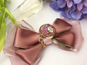 フリル着物に似合うリボンブローチ&ポニーフック ベージュピンクの画像