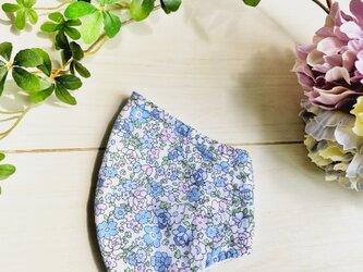 立体マスク 小花柄ブルーの画像