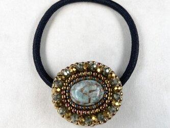 【再販】天然石とビーズ刺繍のヘアゴム コッパーアマゾナイト2の画像