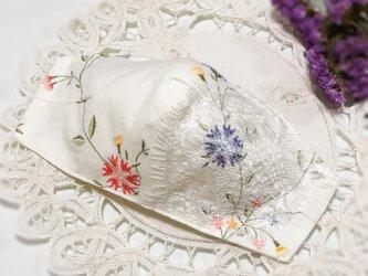 ♥♥小池さんマスクサイドダーツあり型紙使用♥小花柄の華やかレースマスク♥♥の画像