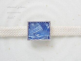 ステンドグラスの帯留め・コバルトのキリコの画像