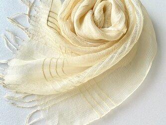 模様織*丁子色*シルクオーガンジーストールの画像