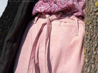 フレンチヴィンテージリネン(麻)、ロウエッジ、ピンク(桃色)、ドローストリング手染めパンツ MOMOZONO originalの画像