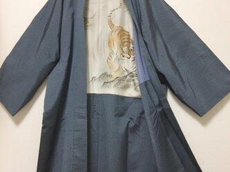 年代物 男羽織  羽裏 虎 龍 短袖  薄ブルー 和柄 骨董 レトロ 和柄 お祭り 催事 陶芸の画像