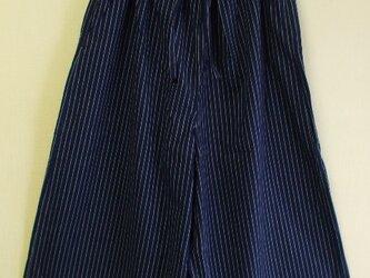 身長160cm位の方にお勧め ワイドパンツ M~LLサイズ ストライプ柄 綿ブロード素材 紺の画像