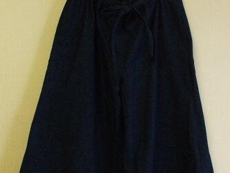 8オンスデニム生地ガウチョパンツ両脇ポケット付き 綿100% M~LLサイズ 紺の画像