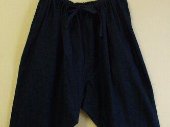 もんぺ風はんぱ丈サルエルパンツ 両脇ポケット付き ポリエステル素材 M~LLサイズ 紺 受注生産の画像