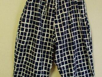 北欧風柄もんぺ風はんぱ丈サルエルパンツ 両脇ポケット付き ポリエステル素材 M~LLサイズの画像